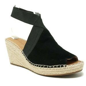 Gentle Souls Womens Espadrille Wedge Sandals Black